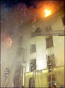 Fire at the Paris Opera hotel
