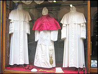 Robes on display in the window
