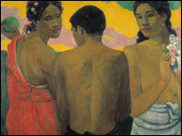 Three Tahitians by Gauguin (pic sent by National Museums and Galleries of Wales)