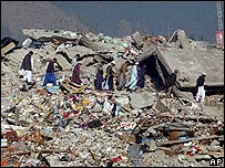 Quake victims in Balakot, Pakistan