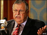 Iraqi President Jalal Talabani speaking at a conference in Cairo on Sunday
