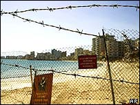View of the Greek Cypriot sector of the Turkish-occupied town of Famagusta