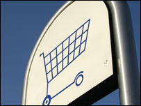 Shopping trolley on sign, BBC