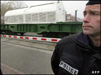 Police guard the French nuclear shipment