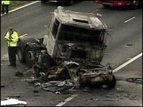 Crash scene on M20, Kent