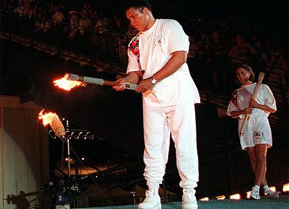 Muhammad Ali lights the Olympic flame during the 1996 Summer Olympic Games opening ceremony in Atlanta