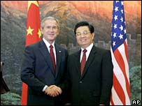 US President George W Bush and Chinese President Hu Jintao