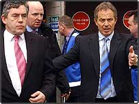 Tony Blair and Gordon Brown arriving at Birmingham's New Street Station after cancelling general election campaigning following the Longbridge announcement