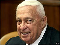 Israeli Prime Minister Ariel Sharon at his weekly cabinet meeting on 20 November