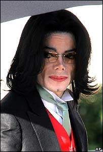 Michael Jackson outside court on 15 April