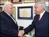 Israeli PM Ariel Sharon with President Moshe Katsav