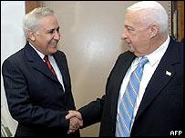 Israeli President Moshe Katsav with PM Ariel Sharon