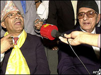 Madhav Kumar Nepal and former Nepal PM Girija Prasad Koirala in a news conference
