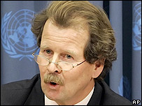 Manfred Nowak, Special Rapporteur on Torture for the United Nations, speaks at a news conference at U.N. headquarters in New York, Monday, Oct. 31, 2005.