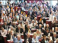 Members voting at the GAA Congress