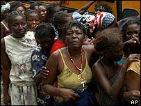 Haitian food line.