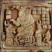 Panel showing king of Cancuen appointing sub-lords