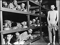 Prisoners at Buchenwald after liberation, Elie Wiesel among them (second row, next to the standing man). Imperial War Museum courtesy photo