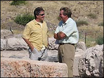 Andy Overman, left, with Edward Stourton at Omrit