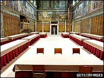 Sistine Chapel view where cardinals will choose the new pope