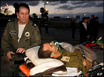 An injured Israeli soldier being evacuated