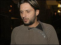 Shahid Afridi pictured on his way to the hearing