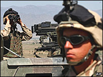 American soldiers patrol in Khost area, near the Pakistani border