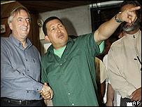 Presidente argentino, Néstor Kirchner, y su par venezolano, Hugo Chávez.