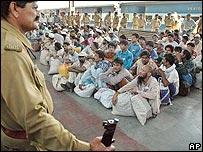 Pakistani fishermen at Ahmedabad railway station