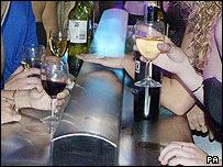 Alcoholic drinks in a nightclub