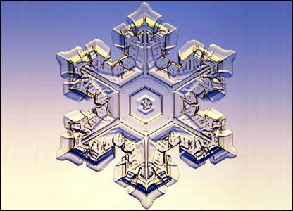 Снежинки образуются в насыщенных облаках при низких температурах.  Их форма зависит от температуры и влажности...