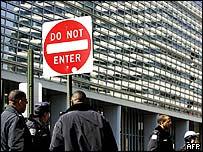 Police outside the World Bank in Washington