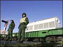 German police guarding a train of nuclear waste