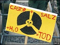 Protestor's sign showing the nuclear symbol