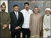 President Musharraf with Kashmiri separatist leaders