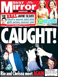 Rio Ferdinand and Peter Kenyon on the front pageof the Daily Mirror