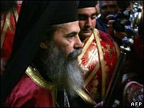 Theophilos III is sworn in as Greek Orthodox Patriarch in Jerusalem