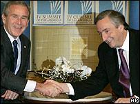 Presidente George Bush y su contraparte presidente Néstor Kirchner
