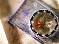 Compass on relief map, Eyewire