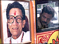 A campaign vehicle bearing the portrait of Bal Thackeray, chief of Hindu right-wing party Shiv Sena