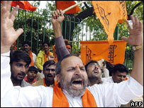 Activists of the Hindu right-wing party, Shiv Sena, in a protest demonstration in Delhi