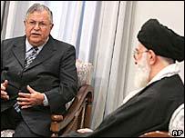 Iraqi President Jalal Talabani (l) with Iran's Supreme Leader Ayatollah Ali Khamenei