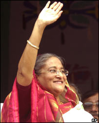 Opposition leader Sheikh Hasina during a rally in Dhaka