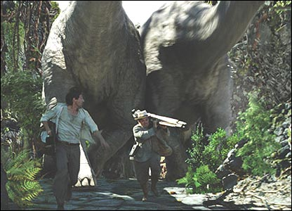 Adrien Brody and Jack Black being chased by dinosaurs