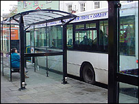 Buses parked in the Bulwark