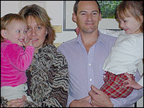 Ian and Claire Dent and daughters Loren, four and Kira, two (l)
