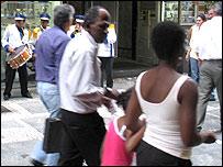 Shoppers in Sao Paulo's pedestrian city centre