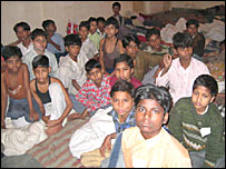 Rescued child labourers who were employed in textile factories around Delhi