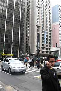 Corner of Avenida Paulista and Rua Augusta in Sao Paulo