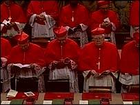 Cardinals inside the Sistine Chapel